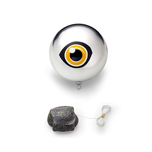 Pontec PondoScare Ball, Reiherschreck, hält Vögel und andere Tiere von Ihrem Teich fern, silber, schwarz, orange